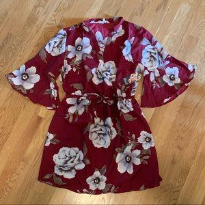 Warm Color Floral Print Dress